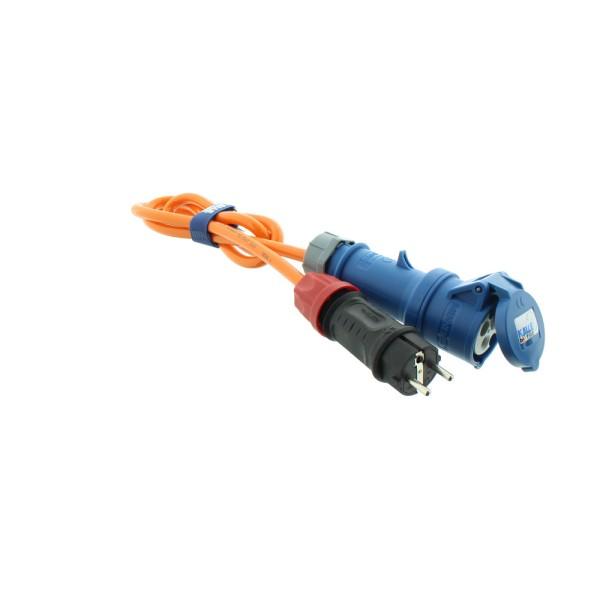 Adapter Professional Schuko Stecker auf CEE Kupplung H07BQ-F 3G 2,5 orange