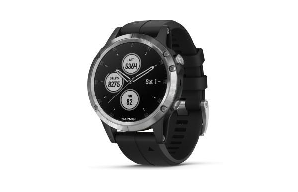 Garmin fenix 5 Plus Silber mit schwarzem Armband