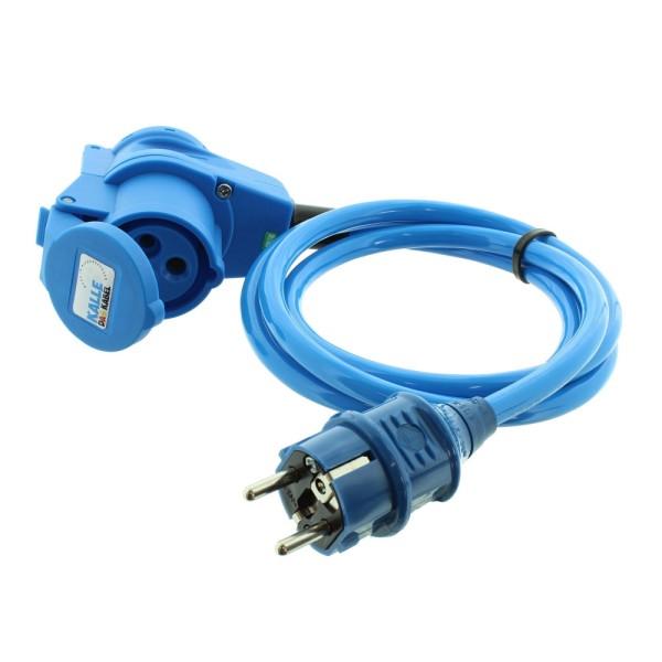 Adapterleitung 230V/16A/3polig 1,5m, H07BQ-F 3G Schuko Stecker-CEE Winkelkupplung