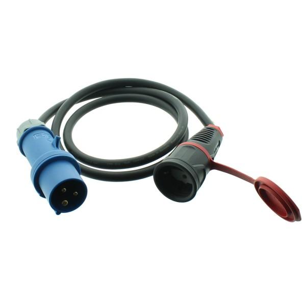 Adapterleitung 230V/16A/3polig H07RN-F 3G CEE Stecker-Schuko Kupplung