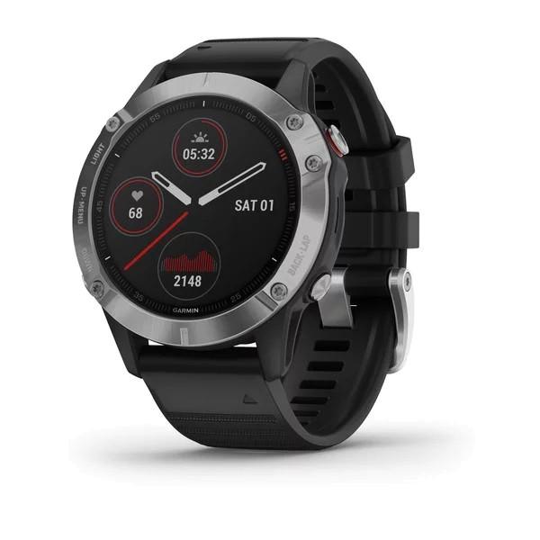 Garmin FENIX 6 Schwarz/Silber mit QUICKFIT-Silikon-Armband 22mm Schwarz